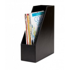 Black Bonded Leather Magazine Rack