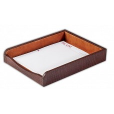 Brown Crocodile Embossed Leather Letter Tray
