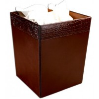 Brown Crocodile Embossed Leather Waste Basket