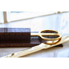 Brown Crocodile Embossed Leather Library Set