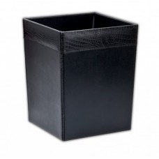 Black Crocodile Embossed Leather Waste Basket