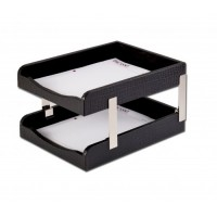 Black Crocodile Embossed Leather Double Letter Trays