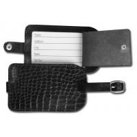 Black Crocodile Embossed Leather Luggage Tag