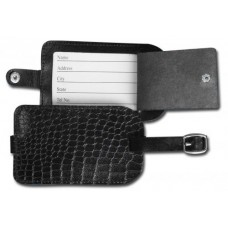 Black Crocodile Embossed Leather Luggage Tag