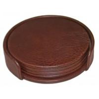 Mocha Leather Coaster Set