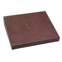 "Mocha Leather 3.5"" x 6"" Calendar Base with Gold Accents"