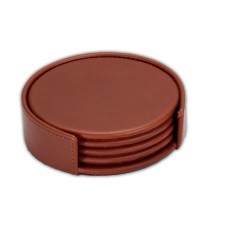 Rustic Brown Leather Coaster Set