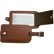 Rustic Brown Leather Luggage Tag