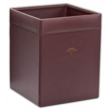 Chocolate Brown Leather Square Waste Basket