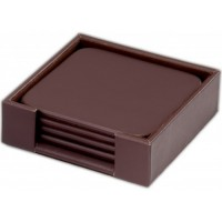 Chocolate Brown Leatherette 4 Square Coaster Set with Holder