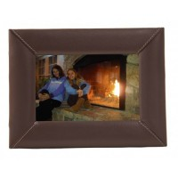 Chocolate Brown Leather 4″ x 6″ Picture Frame
