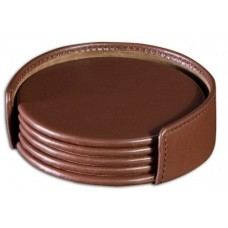 Chocolate Brown Leather Coaster Set