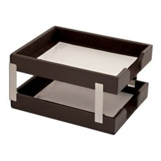 Dark Brown Bonded Leather Double Letter Trays