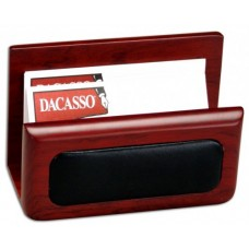 Rosewood & Leather Business Card Holder