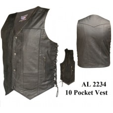 10 Pockets Vests In Split Cowhide Leather