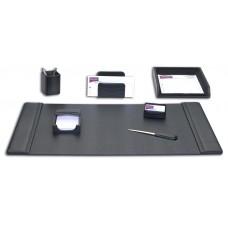 Black Leather 7-Piece Desk Set