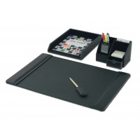 Black Leather 4-Piece Desktop Organizer Desk Set