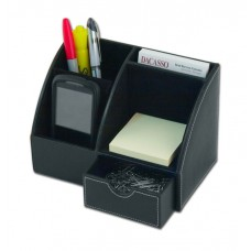 Black Leather 2-Piece Desktop Organizer Desk Set