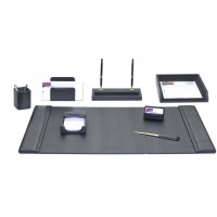 Black Leather 8-Piece Desk Set