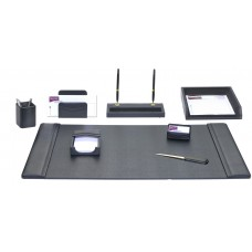 Black Leather 8-Piece Desk Set