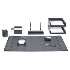 Black Leather 10-Piece Desk Set