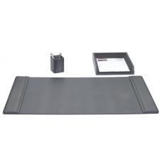 Black Leather 3-Piece Desk Set