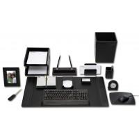 Black Leather 16-Piece Desk Set