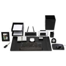 Black Leather 16-Piece Desk Set