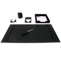 Black Bonded Leather 6-Piece Desk Set