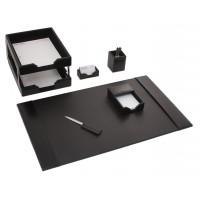 Black Bonded Leather 8-Piece Desk Set