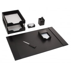 Black Bonded Leather 8-Piece Desk Set