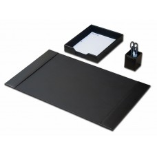 Black Bonded Leather 3-Piece Desk Set