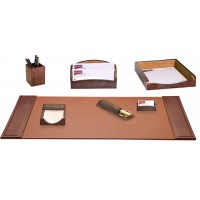 Brown Crocodile Embossed Leather 7-Piece Desk Set
