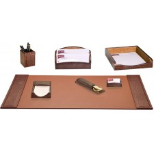 Brown Crocodile Embossed Leather 7-Piece Desk Set