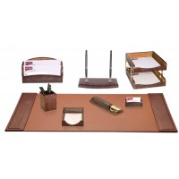 Brown Crocodile Embossed Leather 10-Piece Desk Set