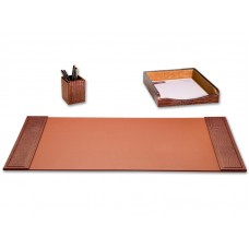 Brown Crocodile Embossed Leather 3-Piece Desk Set