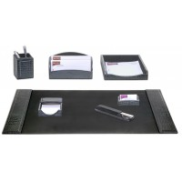 Black Crocodile Embossed Leather 7-Piece Desk Set