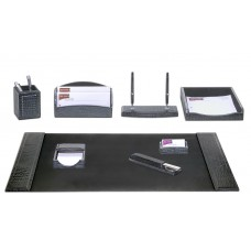 Black Crocodile Embossed Leather 8-Piece Desk Set