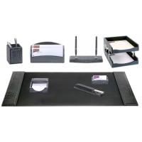 Black Crocodile Embossed Leather 10-Piece Desk Set