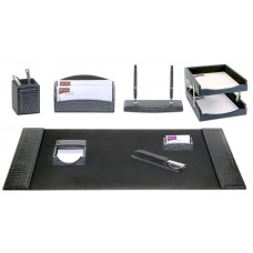 Black Crocodile Embossed Leather 10-Piece Desk Set