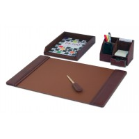 Mocha Leather 4-Piece Desk Set