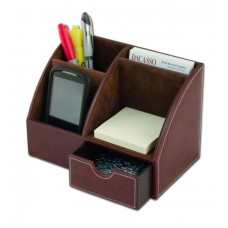 Mocha Leather 2-Piece Desk Set