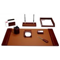 Mocha Leather 8-Piece Desk Set