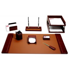 Mocha Leather 10-Piece Desk Set