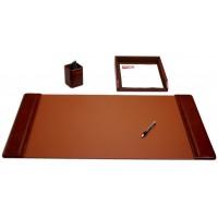 Mocha Leather 3-Piece Desk Set