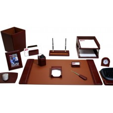 Mocha Leather 16-Piece Desk Set