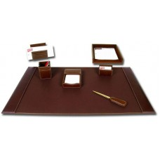 Rustic Brown Leather 7-Piece Desk Set