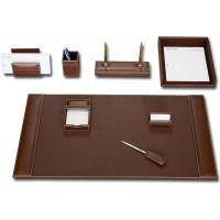 Rustic Brown Leather 8-Piece Desk Set