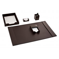 Dark Brown Bonded Leather 5-Piece Desk Set
