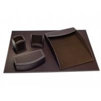 Dacasso Colors Faux Leather 5pc Office Organizing Desk Set – Espresso Brown